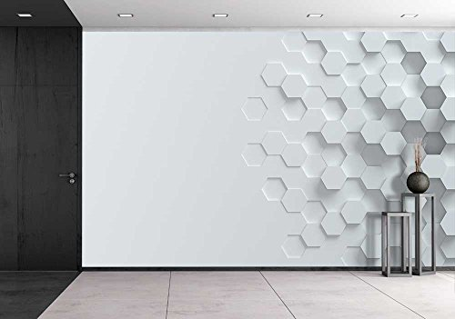 Abstract Wallpaper (wall26 - Hexagonal Abstract 3d Background - Removable Wall Mural | Self-adhesive Large Wallpaper - 66x96 inches)