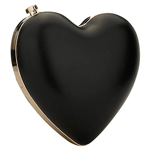 Designer Heart Bag - EROUGE Cute Heart Shape Clutch Purses Women Rhinestone Clutch Evening Bag (Black)