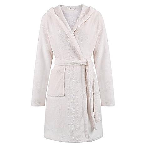 Personalizado Bordado Coral Fleece con capucha albornoz/bata para mujer Longitud de la rodilla crema: Amazon.es: Hogar
