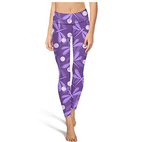(Cute Yoga Pants for Womens Workout Capris Purple Fake Dragonfly Fit Pockets Gym Tights)