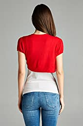 Emmalise Women Layering Bolero Shrug Jacket Crop Top Shirt, Red, Large