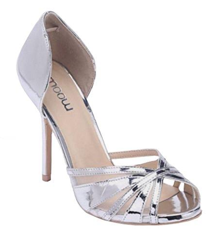 CRAZY D20 Shoes SHU Peep Fashion Platform Court Heel Dressy Pumps Stiletto Toe Womens Ladies Metallic Silver High d16xZq1R