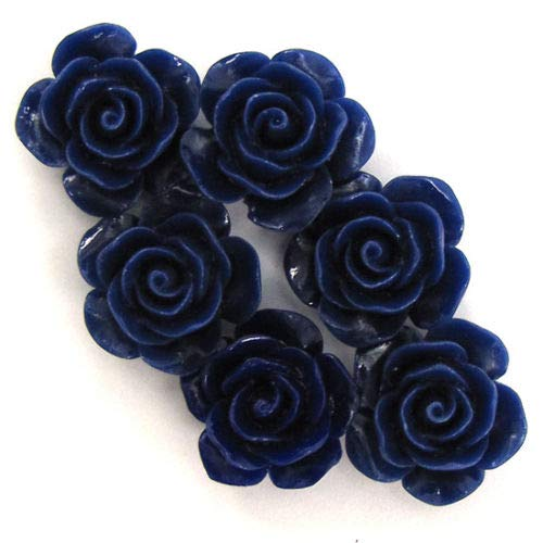 ShopForAllYou Design Making 6 15mm Synthetic Coral Carved Rose Flower Pendant Bead Dark Blue