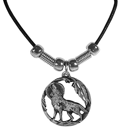 Howling Wolf in Circle Pendant – Beaded Black Leather Necklace