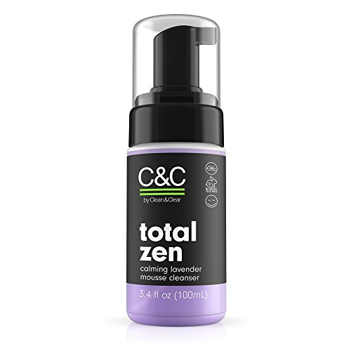 Calming Foam Cleanser - C&C by Clean & Clear Total Zen Calming Lavender Mousse Facial Cleanser to Remove Dirt, Relaxing Oil-Free Face Wash for Sensitive Skin, Not Tested on Animals, 3.4 fl. oz