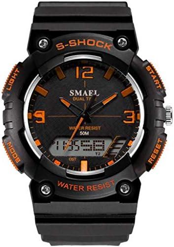 HCFKJ最新 紳士用 超薄型 スポーツ ウォッチ ランニングアウトドア スポーツ シンプル デュアルディスプレイ ダイヤル 多機能 電子時計