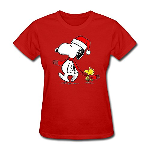 SHFL Women's Snoopy Woodstock Christmas Crew Neck Tees Red XXL