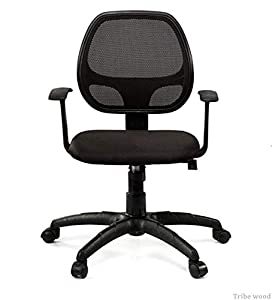 Tribe wood Funiture - Low Back Mesh Ergonomic Chair in Black Colour(1 Chair)