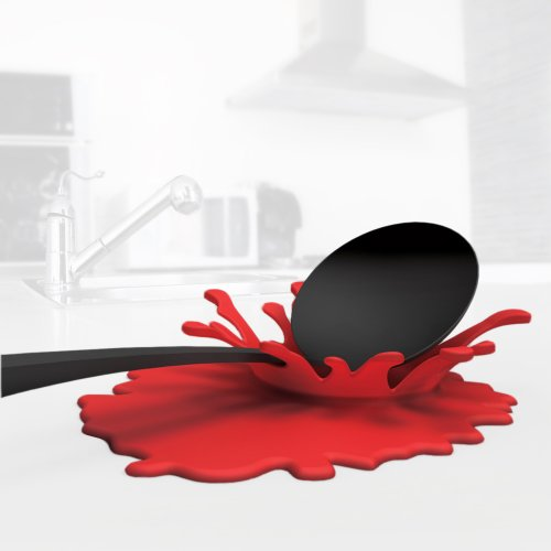 Mustard Spoon Rest Holder- Red Splash