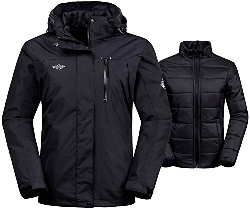 Wantdo Women's Interchange Jacket 3-in-1 Winter Coat Windproof Warm Anorak with Detachable Puffer Liner Insulated Hoodie(Black, Large)