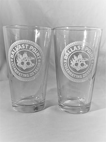 Ballast Point Brewing & Spirits 16oz Pint Glass - White Logo - 2 (Point Beer Brewery)