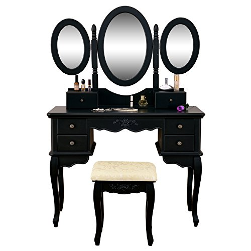 Vanity Table Set 3 Folding Mirror Make Up Dressing Table with Padded Stool & 6 Drawers, Black