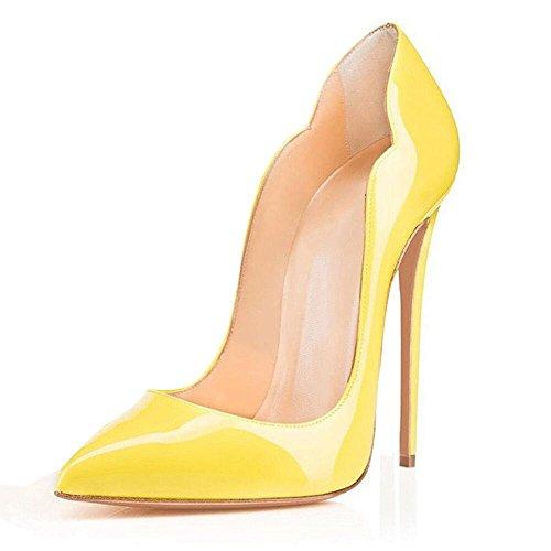 QIN&X Damen Stiletto High Heels Spitzen toe Pumps Schuhe Yellow