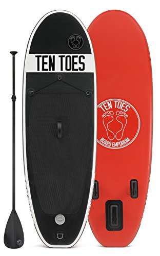 Small Paddle Board (Ten Toes Board Emporium Nano Inflatable Stand Up Paddle Board Bundle, Black/Red,)