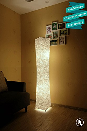 Marble Column Lamp - LEONC Design 61'' Creative LED Floor Lamp, Softlighting Minimalist Modern Contemporary with Fabric Shade & 2 Bulbs Floor Lamps for Living Room Bedroom Warm Atmosphere(Tyvek Dupont 10 x 10 x 61 inch)