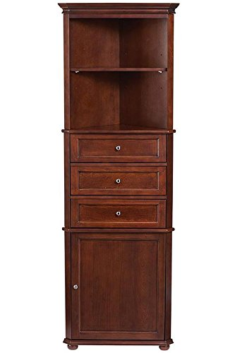 Genial Hampton Bay Corner Linen Bath Cabinet I, 3 DRAWER, SEQUOIA