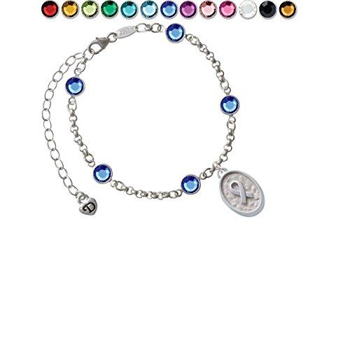 Awareness Ribbon - Oval Seal Custom Crystal Color Fiona Charm Bracelet