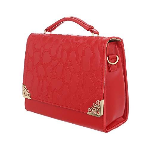 Sintético para Rojo Bolso Design hombro de Ital al mujer 6zwqO6H