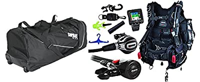 Mares Scuba Diving Computer, Regulator Set, Octo Complete Premium Package w/ BCD Size XLarge Free New Travel Rolling Bag