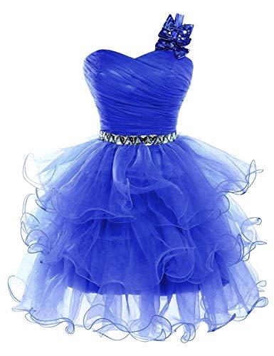 Lilibridal Beading Tulle Short Prom Dresses One Shoulder Homecoming Dresses (Royal Blue Size 2) Beading Organza Homecoming Dress