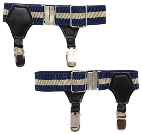 (JAIFEI High-End Sock Garters- Premium 1-Pair Double Sturdy Clip Sock Suspenders For Cotton & Silk Socks (Beige/Navy Stripe))