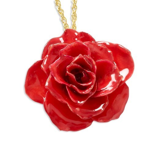 - Roses and Leaves Lacquer Dipped Red Rose w/ Gold-tone Chain