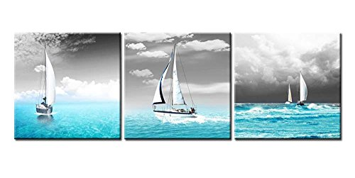 Canvas Print Wall Art Painting for Home Decor Tropical Blue Ocean Sea and Sailingboats in Black Sky for Living Room Decoration Seascape Pictures Prints On Canvas