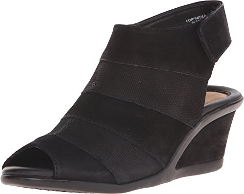 Earth Women's Coriander Wedge Sandal,Black Vintage Leather,US 7.5 M (Earth Leather)
