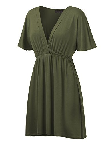 sandals WDR1338 Womens Short Sleeve Kimono Style Dress Top XXXL OLIVE