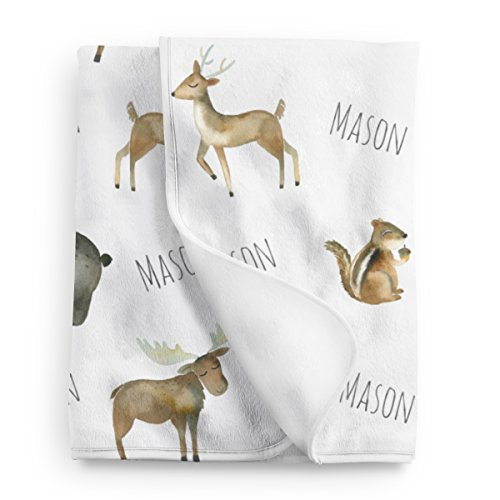 Personalized Woodland Animals Fleece Baby Blanket by Lovable Gift Co