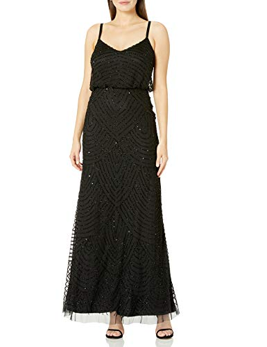 Adrianna Papell Womens Long Beaded Blouson Gown