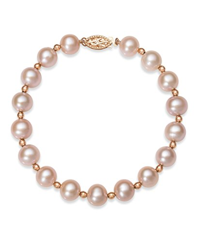 - 14k Rose Gold Natural Pink Cultured Freshwater Pearl Beaded Bracelet,7.5