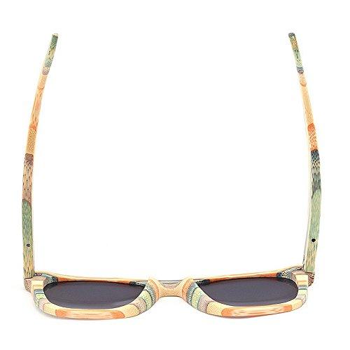 Gray Yxsd de polarizadas Pesca los de Sol Hombres Sol de SunglassesMAN Madera Gafas Color de Las Retro de de Gafas rayadas Gray qdn1wC