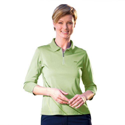 3/4 Sleeve Golf (Monterey Club Ladies' Dry Swing Contrast Stitch 3/4 Sleeve Shirt #2258 (Lime Meringue/Olive Night,Small))
