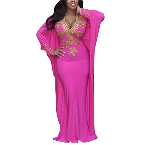 Aro Lora Women's African Print V Neck Batwing Sleeve Dashiki Bodycon Long Maxi Dress Medium Rose