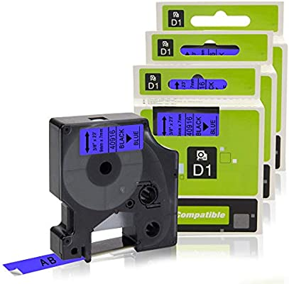 Compatible for Dymo D1 45016 S0720560 Standard Labelling Tape 12mm x 7m for Dymo LM LabelManager 160 280 260P 360D 500TS Dymo LabelWriter 450 400 Duo Label Printers by Labelwell 3-Pack Black on Blue