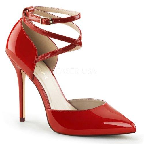 Pleaser Women's Amu25/R dress Pump, Red Patent, 8 M US ()