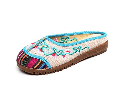 WXT Zapatos bordados, lenguado de tendón, estilo étnico, flip flop femenino, moda, sandalias cómodas y casuales beige