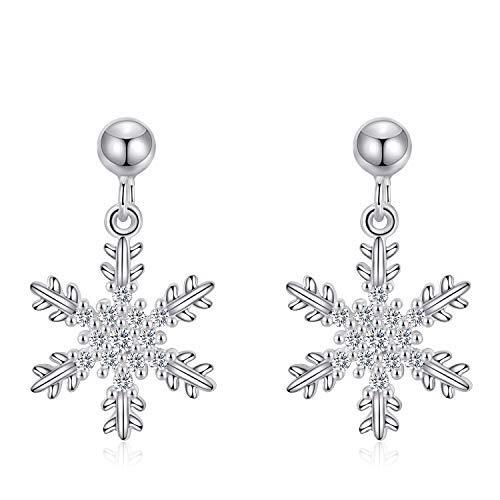 King Force Sterling Silver Snowflake Stud Earrings Winter Earrings Studs Fashion Jewelry for Women&Girls (Earrings Snowflake Winter)