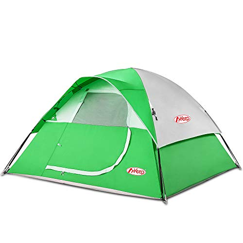 TOMOUNT Easy Quick Setup Tent for Camping, Professional Waterproof Windproof Fabric, Anti-UV, Double Layer, 3 Large Mesh for Ventilation, Lightweight Portable with Carry Bag, Green Tent