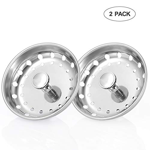 KUYANG 2 Pack Kitchen Sink Strainer, Replacement for Standard Kitchen Sink Drain Strainer (3-1/2 Inch), Chrome Plated Stainless Steel Basket Body with Rubber Stopper