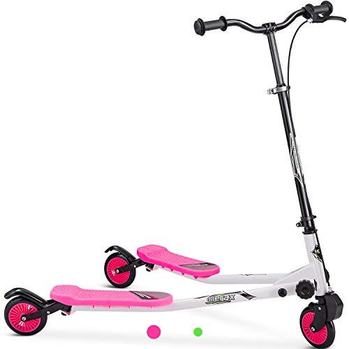Patinete oscilante de 3 ruedas con patinete plegable de alturas ajustables para niños a partir de 3 años, niñas y niños