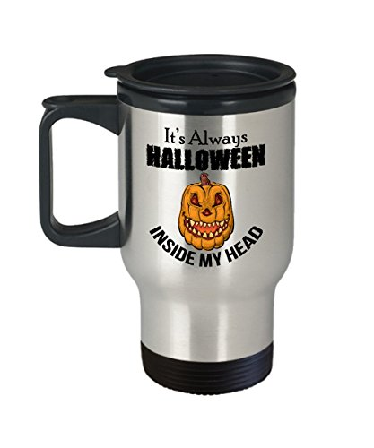 FUNNY QUOTE TRAVEL MUG, Stainless Steel Insulated Coffee Mugs, Cute and Scary Design for your Halloween Party! Gifts Under $20, Unique Novelty Gift Ideas, Birthday Christmas Hanukkah -