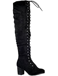 Women Knee High Boots Chunky Block Heel Retro Lace Up Western Shoes
