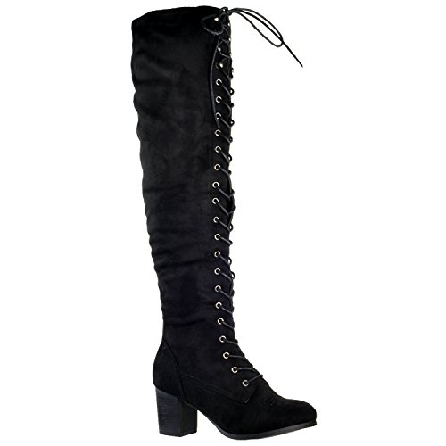 Generation Y Women Knee High Boots Chunky Block Heel Retro Lace Up Western Shoes Black SZ 10