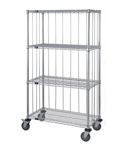 Quantum 3 Sided 4 Wire Shelf Cart With Rods & Tabs 74