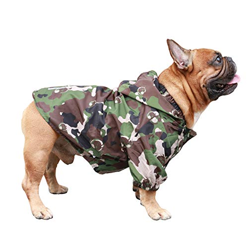 iChoue Dog Raincoat Lightweight Windbreaker Hooded Jacket for French bullodg Shiba Inu Frenchie Outdoor Water Resistant Coat - Camouflage/Size M