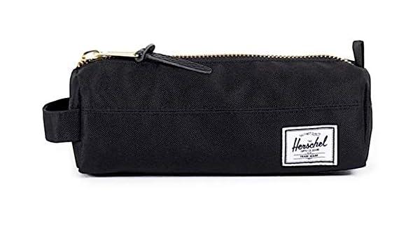 Herschel Supply Co - Estuche para lápices con cremallera dorada, color negro: Amazon.es: Oficina y papelería