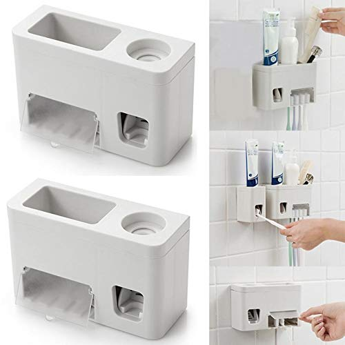 VHLL Wall Mounted Toothbrush Holder ABS Plastic Automatic Toothpaste Dispenser Holder Family Rack Squeezer Bathroom Accessories Sets
