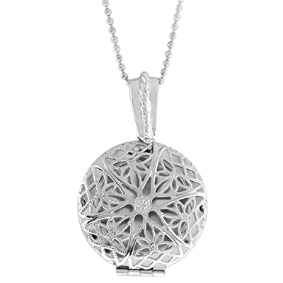 "1.25"" Olive Shape Engraved Filigree Crystal Locket Pendant With 28"" Chain"